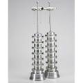 Machine age pair of tall table lamps usa ca 1930 spun aluminum and cast glass two sockets unmarked 31 x 6