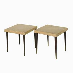 Paul frankl johnson furniture co pair of occasional tables lacquered cork mahogany and brass unmarked each 16 14 x 18 sq