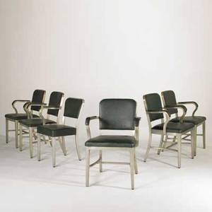 Goodform set of six chairs five armchairs one side chair usa 1950s cast aluminum and vinyl metal labels each 34 x 22 x 21