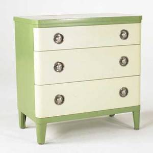 Norman bel geddes simmons three drawer dresser usa 1940s enameled metal and brushed aluminum decal labeled 34 12 x 34 x 19