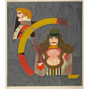 Richard lindner american 19011978 four works of art two lithographs in colors each untitled framed each signed and numbered each 24 x 20 image two exhibition posters one dated 1969 f