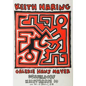 Keith haring american 19581990 screenprint in colors framed galerie hans mayer 1989 signed and dated 32 34 x 23 14
