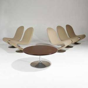Verner panton fritz hansen set of five lounge chairs and coffee table denmark 1970s upholstery laminate and polished aluminum unmarked each chair 32x 23 12 x 32 table 16 12 x 35 12 d