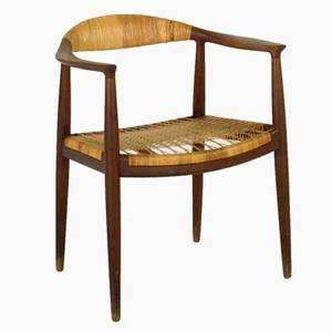 Hans wegner johannes hasen round chair denmark 1960s teak and woven cane branded 19 12 x 25 x 21