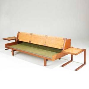 Hans wegner getama day bed together with two tv tables denmark 1960s teak and wicker unmarked daybed 29 x 80 12 x 34 14