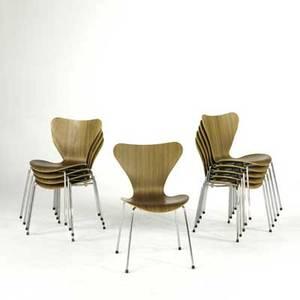 Arne jacobsen fritz hansenknoll studio set of ten sevner chairs model 3107 denmark 2000 teak and chromed steel all marked each 31 x 18 12 x 20