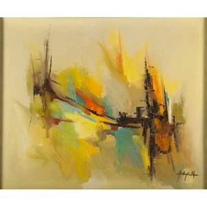 Contemporary abstract oil on canvas by unknown artist framed 30 x 36