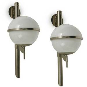 Sergio mazza pair of wall sconces together with extra fixture mounting plate and one halfdome shade italy 1960s chromed steel and cased glass unmarked each 31 x 11 x 16