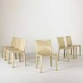 Mario bellini cassina set of six leather cab chairs italy 1970s80s labeled each 32 x 18 12 x 18