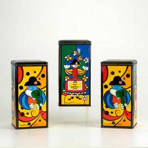 Romero britto three grand marnier tins ca 1990 all signed by artist and one signed to al happy holiday hollida 9 14 x 4 34 sq