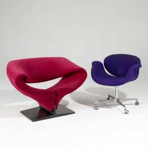 Pierre paulin artifort ribbon chair and tulip chair france 1960s upholstery painted wood cast aluminum and chromed metal both labeled ribbon 27 x 38 x 30 chair tulip 28 x 28 x 24