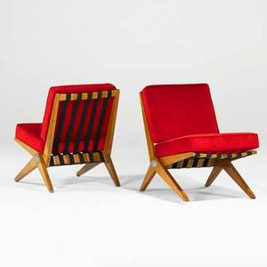 Pierre jeanneret knoll associates inc pair of scissor chairs usa 1950s birch wool upholstery chromed steel canvas straps decal to one 31 x 21 x 28