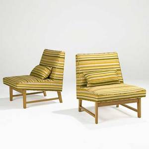 Edward wormley dunbar pair of lounge chairs usa 1950s silk and bleached mahogany brass labels 30 x 26 x 31