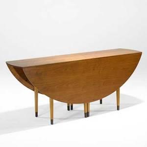 Edward wormley dunbar gateleg dining table usa 1940s sap walnut bleached mahogany brass green metal label open 29 12 x 60 x 72