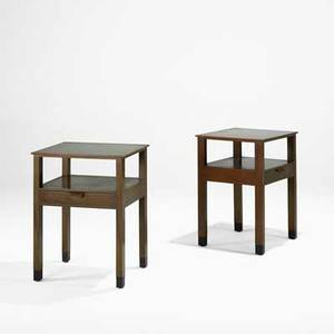 Edward wormley dunbar pair of nightstands usa 1960s mahogany walnut leather brass labels 25 x 19 x 17 14
