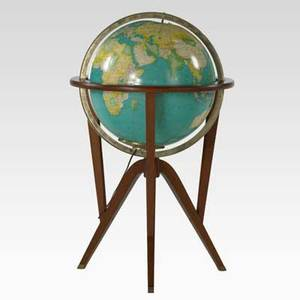 Edward wormley dunbar globe on stand usa 1950s mahogany brass paper unmarked 34 x 20 12