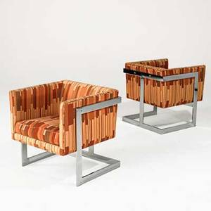 Milo baughman thayer coggin pair of club chairs usa 1970s chromed steel wool upholstery paper labels 26 x 24 12 x 24 12