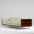 Milo baughman thayer coggin threeseat sofa no2165 usa 1960s rosewood chromed steel fine leather unmarked 28 12 x 86 x 35