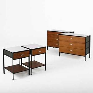 George nelson herman miller pair of steelframe dressers and nightstands usa 1950s laminate enameled steel walnut chromed metal nightstands and one dresser have metal labels dressers 29 12