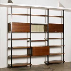 George nelson herman miller comprehensive storage system css usa 1960s walnut aluminum enameled aluminium enameled wood glass metal label 94 x 97 12 x 18 12