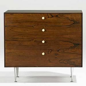 George nelson herman miller thin edge fourdrawer dresser no 5202 usa 1950s rosewood aluminum porcelain foil label 30 12 x 33 12 x 18 12