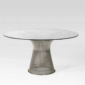 Warren platner knoll associates dining table usa 1960s chromed steel glass unmarked 28 x 53