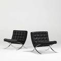 Ludwig mies van der rohe knoll international pair of barcelona chairs germany 1986 black leather stainless steel 30 12 x 30 12 x 30