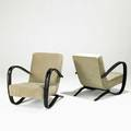 Jindrich halabala pair of lounge chairs czechoslovakia 1940s stained beech chenille unmarked 30 x 28 x 35