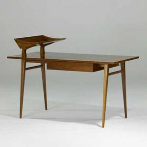 Bertha schaefer singer  sons italian walnut desk italy 1950s unmarked to desk 30 x 56 x 28 to top 38 12