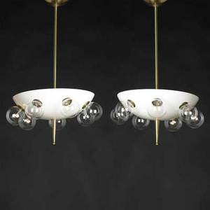 Italian modern pair of pendant lamps 1950s brass enameled metal seven sockets unmarked 27 12 x 14