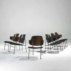 Ib kofodlarsen set of six lounge chairs denmark 1950s teak enameled steel rubber upholstery unmarked 29 x 21 x 24