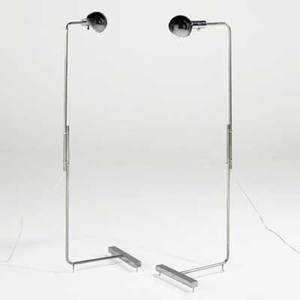 Cedric hartman pair of adjustable floor lamps usa 1980s chromed steel unmarked as shown 49 12 x 11 x 13 14