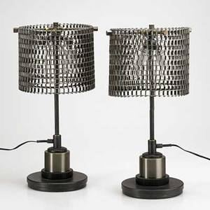 Jason wein cleveland art pair of conveyor table lamps cleveland oh ca 2010 reclaimed metal parts unmarked 20 12 x 10