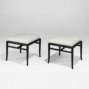 Th robsjohngibbings widdicomb pair of benches grand rapids mi 1950s ebonized wood linen unmarked 17 x 19 12 sq