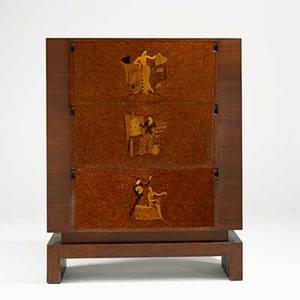 Andrew szoeke dropfront cabinet decorated in marquetry usa ca 1940 burl exotic woods mahogany unmarked 60 x 48 x 15 12