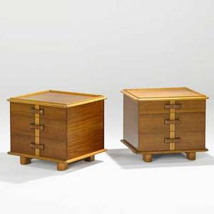 Paul frankl johnson furniture co pair of station wagon nightstands no 10441160 usa 1940s mahogany birch leather brass stenciled numbers branded marks 21 12 x 24 x 22