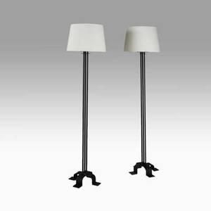 Warren mcarthur pair of floor lamps usa ca 1927 enameled steel glass linen provenance arizona biltmore hotel unmarked overall 65 x 17 dia base 14 12 sq