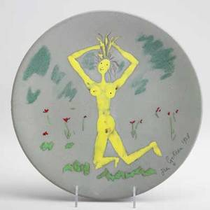 Jean cocteau enamel decorated ceramic plate with nude france 1958 plate signed and dated verso signed edition originale de jean cocteau atelier madeline jolly 1420 12 dia