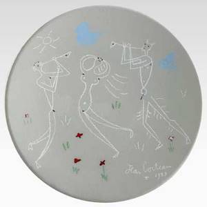 Jean cocteau decorated ceramic plate with musicians france 1958 plate signed and dated verso signed edition originale de jean cocteau atelier madeline jolly 1450 10 34 dia