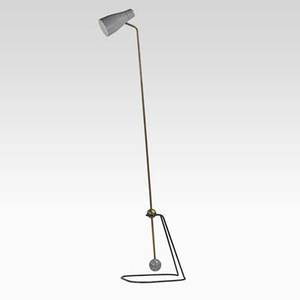 Pierre guariche disderot articulated floor lamp france 1950s brass enameled metal and aluminum unmarked 68 rod length x 13 x 15 15