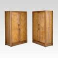 Robert guillerme  jacques chambron votre maison pair of twodoor wardrobes france 1950s oak and glazed ceramic unmarked 68 12 x 44 x 20