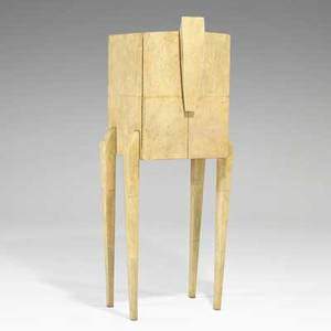 R  y augousti twodoor cabinet france 1990s shagreen bone wood glass brass label 51 x 18 x 20