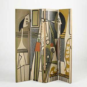 After pablo picasso fourpanel roomdivider artist and model late 1950s polychromed composite eggshell unsigned each panel 72 x 16