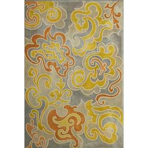 Vsoske contemporary roomsize wool rug in swirl pattern usa 1970s vsoske label 125 x 86