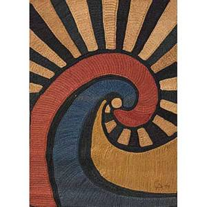 After alexander calder bon art jute fiber tapestry a swirl nicaragua 1974 embroidered ca 74 cloth label edition 36100 certificate of authenticity 74 x 50 12