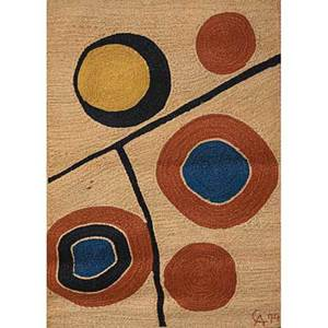 After alexander calder bon art jute fiber tapestry sun nicaragua 1974 embroidered ca 74 cloth label edition 91100 certificate of authenticity 68 x 50