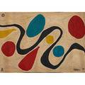 After alexander calder bon art maguey fiber tapestry turquoise guatemala 1975 embroidered calder 75 edition 86100 certificate of authenticity 56 x 84