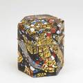 Kyohei fujita faceted covered box japan frosted glass gold leaf silverplated copper etched signature 6 12 x 5 x 5 12