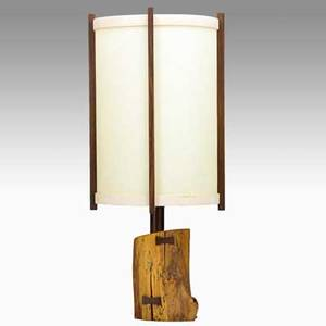 George nakashima nakashima studios table lamp new hope pa 1989 dogwood parchment single socket provenance copy of original receipt signed george nakashima feb 11 1989 and clients name 2