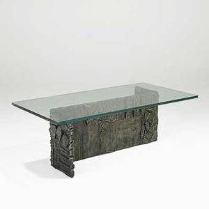 Paul evans directional sculptured metal coffee table usa 1970 bronze composite glass signed pe70 16 12 x 48 x 24